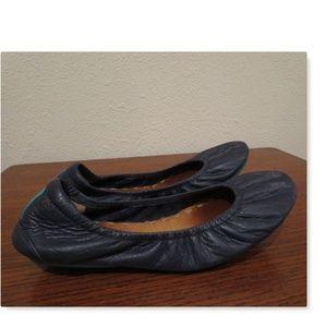 Tieks navy blue foldable ballet flats well loved 7